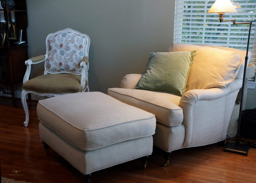 Custom upholstered armchair and ottoman 06